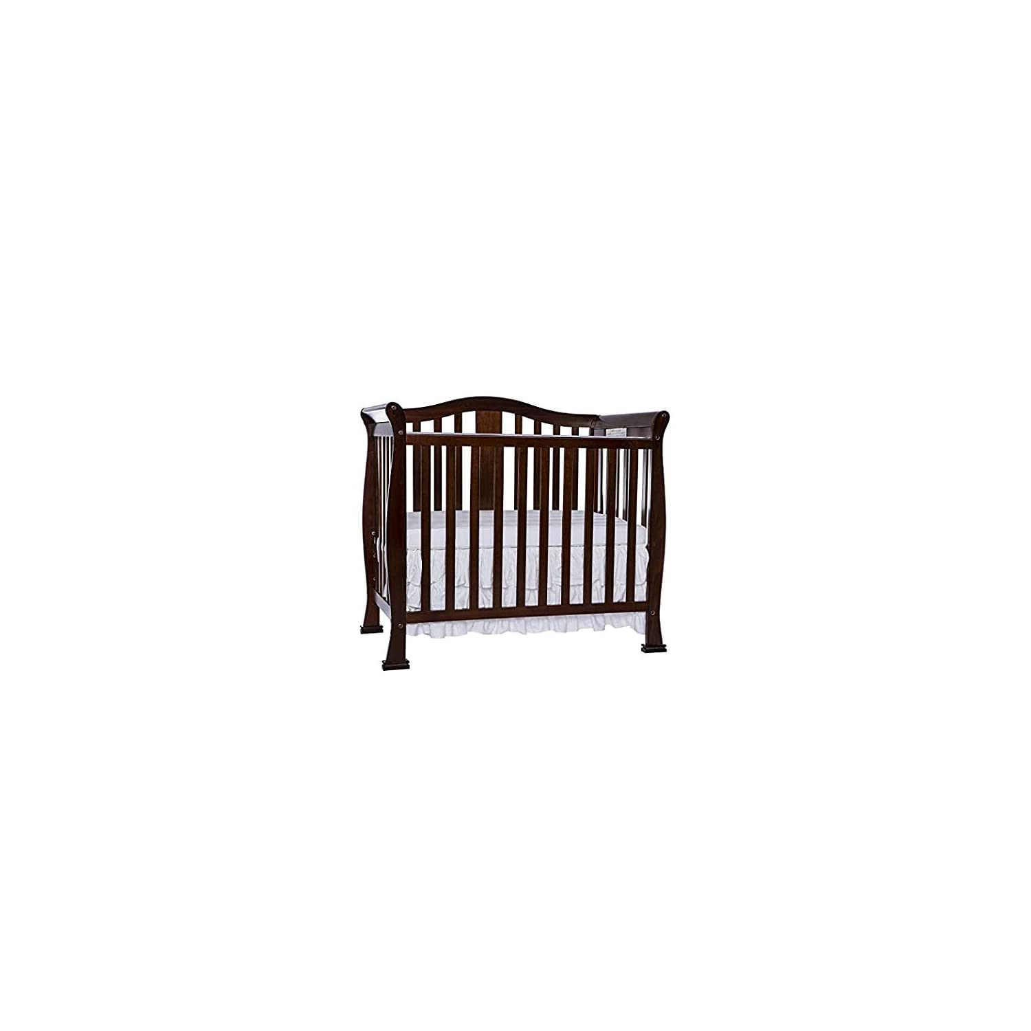 Dream On Me Addison 4 in 1 Convertible Mini Crib, Espresso with 3″ Spring Coil Mini/Portable Crib Mattress White/Blue.