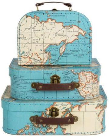 Conjunto de tres estilo Vintage mapa del mundo decorativa Mini maleta caja de recuerdos de almacenamiento para Stationery, fotos, cds, la habitación de los niños: Amazon.es: Hogar