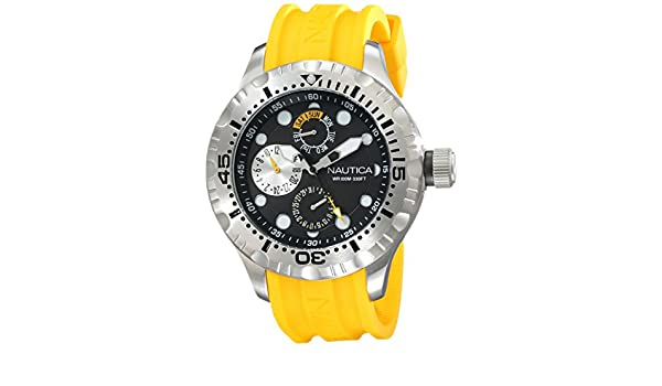 Amazon.com: Nautica Mens N15107G BFD 100 Multi Analog Display Japanese Quartz Yellow Watch: Nautica: Watches