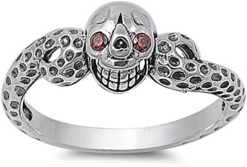 Garnet Eyes Skull .925 Sterling Silver Ring Sizes 6-12
