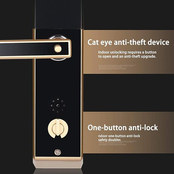 Biométrico huella digital cerradura Bluetooth táctil sin llave palanca inteligente cerradura de la puerta con timbre antirrobo Smart cerraduras electrónicas ...