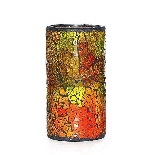 Home Impressions Battery Operated Pillar Mosaic Led Flameless Candle with Timer, 3.25 x 6, Red