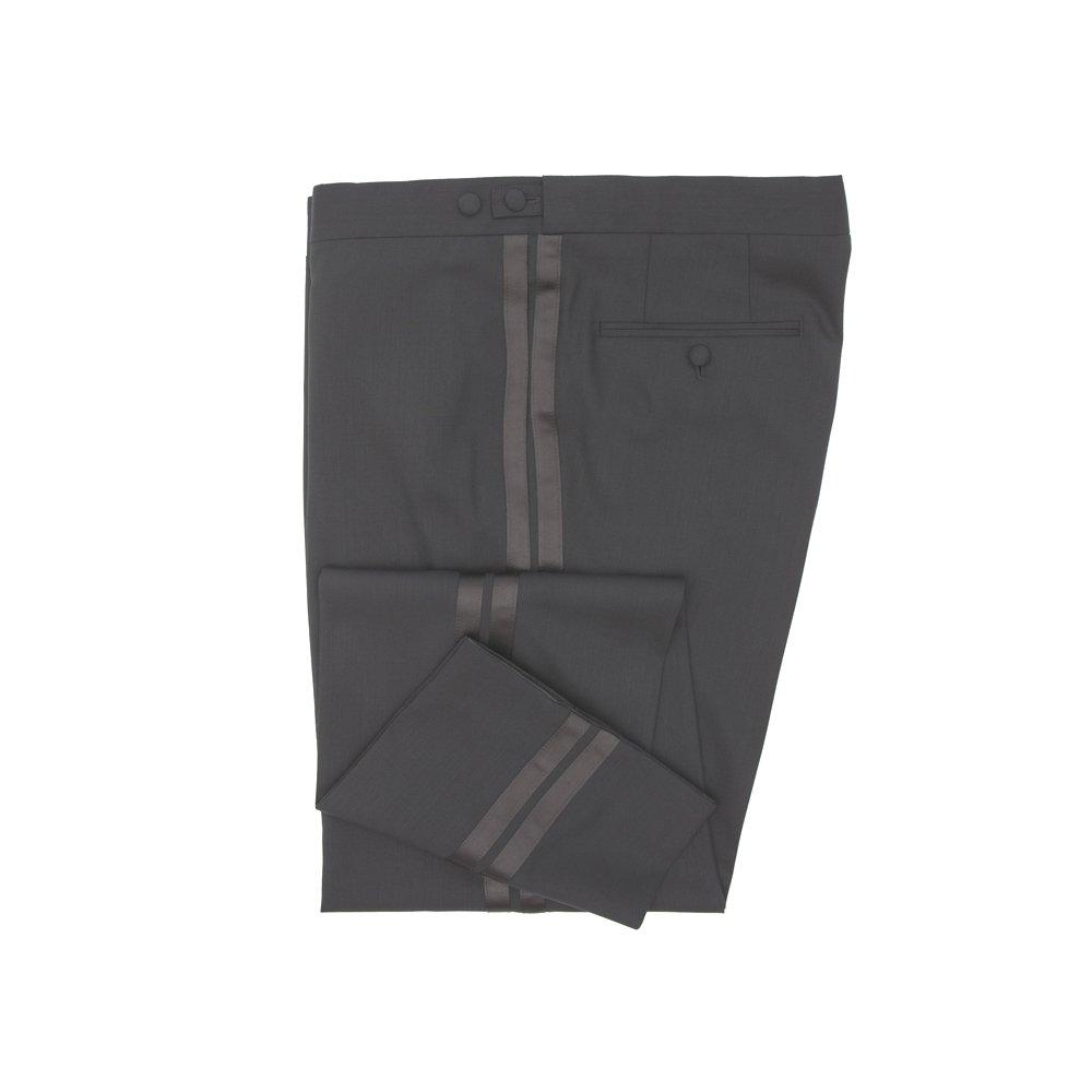 WILVORST Frack Hose Schwarz Slim Line taillierte Passform ohne Bundfalte und Seidengalon IWS Fresco 260g 401214/1/731/