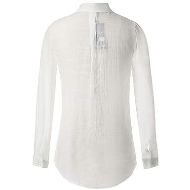Auifor Mujeres Camiseta otoño Elegante Color sólido Flojo Base de ...