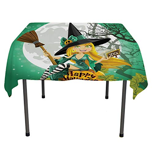 Witch BBQ Tablecloth Cheerful Smiling Girl in Halloween Costume on a Pumpkin Giant Moon Woodland Sea Green Multicolor Dinning Tabletop Decoration Rectangle Tablecloth 60 by 102 inch]()