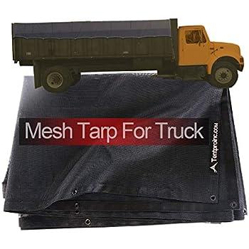 3 Years Limited Warranty No Rust Thicker Brass Grommets Dump Truck Mesh Tarp 8X10 Black Tentproinc Heavy Duty Cover With 6 Pocket Reinforced Double Needle Stitch Webbing Ripping Tearing Stop