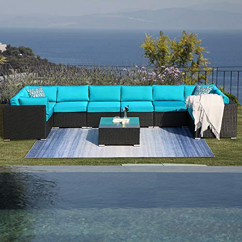 Green4ever Patio 9 Piece Furniture Set Outdoor Conversation Rattan Sofa Sets, All Weather PE Wicker Couch Sectional Set with Coffee Table, Black Wicker Turquoise Cushions