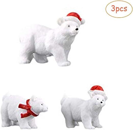 Kylewo 3 Piezas Mini Estatuilla de Oso Navidad Miniatura Deco Oso ...