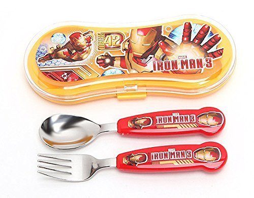 Disney Marvel Gon Avengers Assemble Kid Spoon Fork Set with Plastic Case (Iron-man 1)