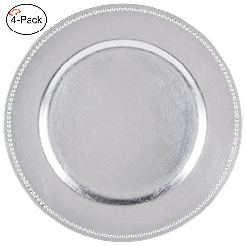 Tiger Chef 13-inch Silver Round Beaded Charger Plates, Set of 2,4,6, 12 or 24 Dinner Chargers (4-Pack Silver Chargers Plates)