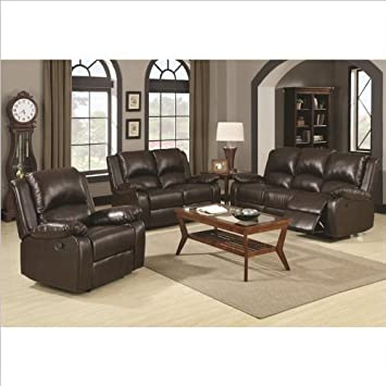 Cool Amazon Com Coaster Boston 3 Piece Reclining Sofa In Brown Lamtechconsult Wood Chair Design Ideas Lamtechconsultcom