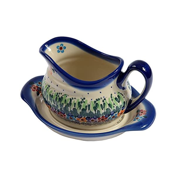 Traditional Polish Pottery, Handcrafted Ceramic Gravy Sauce Boat and Tray (630ml), Boleslawiec Style Pattern, S.301.Daisy