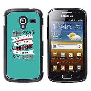Be Good Phone Accessory // Dura Cáscara cubierta Protectora Caso Carcasa Funda de Protección para Samsung Galaxy Ace 2 I8160 Ace II X S7560M // Motivational Teal Text Inspiring Self