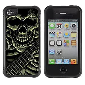 KROKK CASE Iphone 4 / 4S - skull guitar rock death metal heavy - Rugged Armor Slim Protection Case Cover Shell