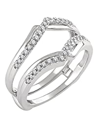 Simulated Diamond Engagement Wedding Jacket Ring Guard Wrap Enhancer .25ct 14k White Gold Plated Sterling Silver