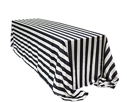 (Your Chair Covers YCC Linen - 90 x 156 inch Rectangular Satin Tablecloth Black/White Striped, Rectangle Shiny Satin Table Linens for 8 ft Rectangular)