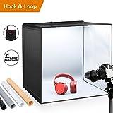 ESDDI Photo Studio Lightbox 20''/50cm Portable Folding Hook & Loop Professional Booth Table Top Photography Lighting Kit 120 LED lights 4 Colors Backdrops