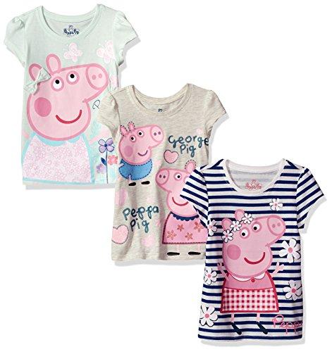 Peppa Pig Toddler Girls Short-Sleeve T-Shirt (Pack of 3), Multi, 2T ()