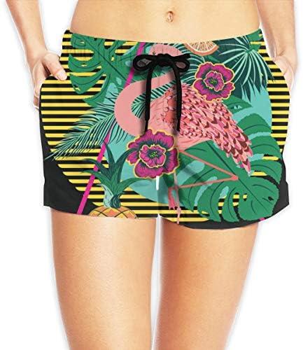 Pantalones cortos causales para mujer para verano atlético rosa fuerte flamenco de hojas tropicales y frutas trajes de ba ntilde;o de playa