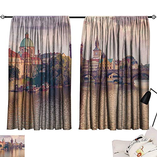 Decor Curtains by Landscape,Pastoral View at Charles Bridge Spires of Prague Central Europe Gothic Buildings Image, Multi 54