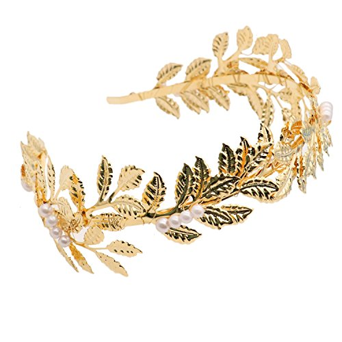 HUELE Greek/Roman Goddess Accessories Gold Leaf Crown Headpiece - Bridal Wedding Headband (Gold)