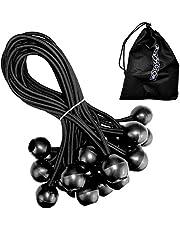 25 Profi Spanngummis mit Kugel 18 cm in schwarz | Expanderschlinge | Planenspanner | Zeltgummis | Gummischlaufen | Gummispanner – zum Fixieren von Banner, Planen, Pavillon, Zelte | mit Tragetasche