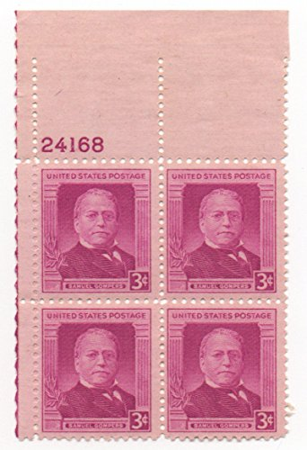 Us Plate Block (SAMUEL GOMPERS ~ LABOR UNIONS ~ AFL #988 Plate Block of 4 x 3¢ US Postage Stamps)