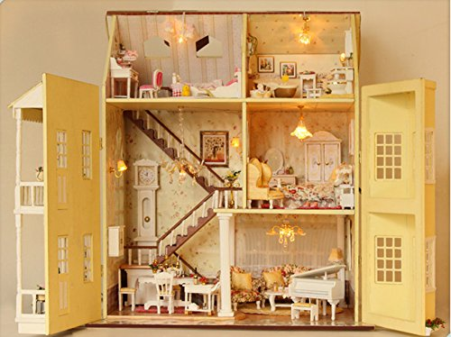 Costruire Una Casa Delle Bambole Di Legno : Casa delle bambole in miniatura misura grande con mobili in legno