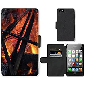 PU Cuir Flip Etui Portefeuille Coque Case Cover véritable Leather Housse Couvrir Couverture Fermeture Magnetique Silicone Support Carte Slots Protection Shell // F00000053 fuego // Apple iPhone 4 4S 4G