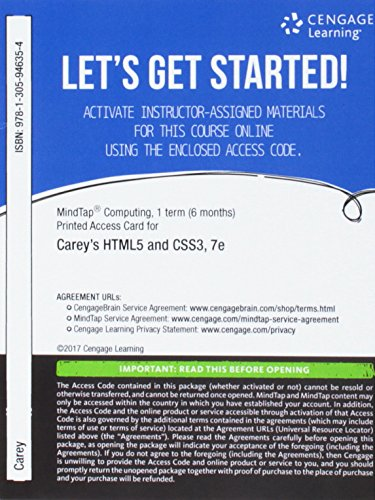 MindTap Web Design & Development, 1 term (6 months) Printed Access Card for Carey's New Perspectives HTML5 and CSS3: Comprehensive, 7th (MindTap Course (Website Design Layout)