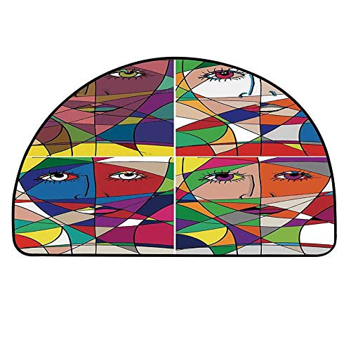 YOLIYANA Abstract Home Decor Doormat,Abstract Woman Face Illustration Behind Stained Glass Human Facial Feature Entryway Mat,17.7