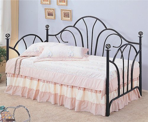 Black Metal Fan Back Daybed(Link Spring and Mattress Sold Separately)