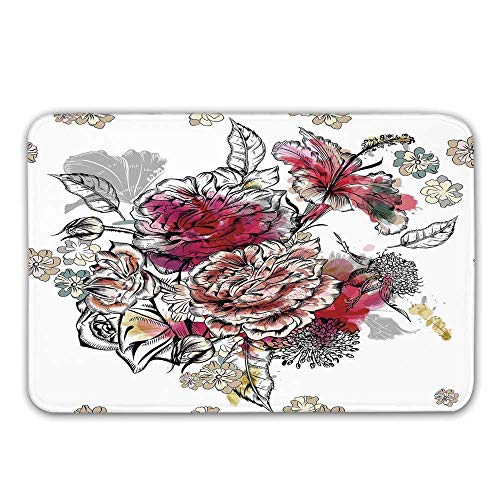 (TecBillion Floral Front Door Mat,Romantic Rose Petals Bouquet Bridal Wedding Themed Nostalgic Blooms in Mixed Colors Doormat for Inside or Outside,31.5