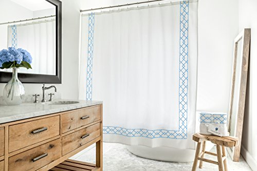 Southampton | Luxury Blue & White Shower Curtain | Elegant Jacquard Fabric Shower Curtain | Classic Look | Heavy Weight | Mildew Resistant | 72 x 72 Bath Shower Curtain - HEAVYWEIGHT TEXTURED LUXURY - Why settle for thin, tacky shower curtains that ruin the look of your bathroom? Treat yourself and your guests to the lovely woven texture and exquisite detail of our cloth bathroom shower curtain. Sophisticated and charming, the heavyweight (250 GSM) luxury fabric prevents billowing and wrapping around you in the shower, and drapes gracefully without fuss or wrinkles. CONTEMPORARY & TIMELESS EMBROIDERY - Unlike cheap and flimsy printed shower curtains, Southampton Shower Curtains, Ltd.'s classic embroidered embellishments add a timeless touch to our jacquard woven bath shower curtain. The distinctive geometric pattern will match your existing bathroom decorations and also complement any future decor changes. NOTICE THE DIFFERENCE - Non-toxic soft textured cotton is blended with polyester to perform best for you and your guests. At 72 in. by 72 in., this long shower curtain is the ideal size for most showers and bathtubs. - shower-curtains, bathroom-linens, bathroom - 51BNgWknKoL -