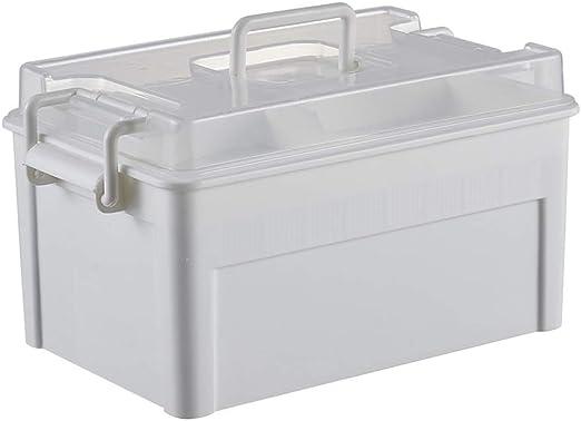 Caja Médica para El Hogar Caja De Primeros Auxilios para Niños De 2 Capas De Plástico Caja Grande para Guardar Medicamentos Tamaño Blanco (LXWXH) 27.5x16.5x15cm A_: Amazon.es: Hogar