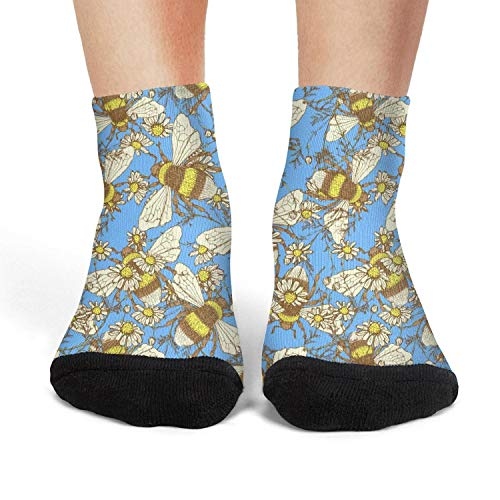 Women's Athletic Crew Socks Daisy Flowerand Bees fit Socks