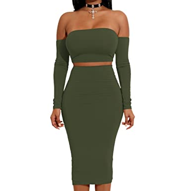cc3e36ca3f4 Slim Bloom Women Sexy 2 Pieces Off Shoulder Bandage Crop Top And Midi Skirt  Sets Army