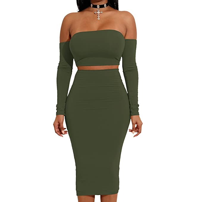 4892a2048ab Enggras Women Sexy 2 Pieces Off Shoulder Bandage Crop Top and Midi Skirt  Sets Army Green