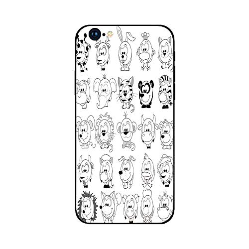 Phone Case Compatible with iphone6 Plus iphone6s Plus mobile phone protecting shell Brandnew Tempered Glass Backplane,Doodle,Assortment of Cartoon Style Animals Cat Zebra Girraffe Pig Panda Monkey Ani