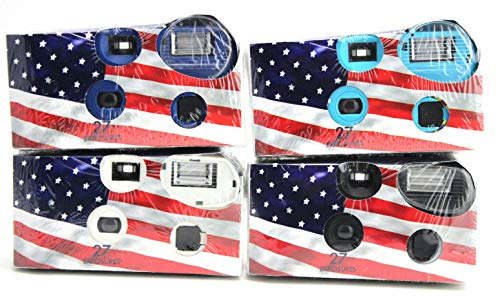 Disposable Cameras 35mm Film 27Exp + Flash Single Use USA American Flag (4-Pack)