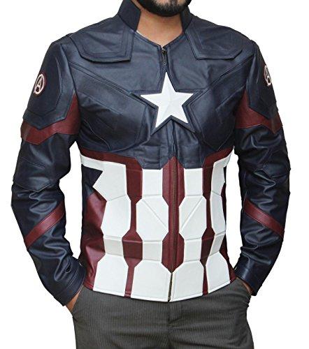 Zamboni Costume (America Favorite Captain Civil War Jacket Black Friday Costume (L, Blue))