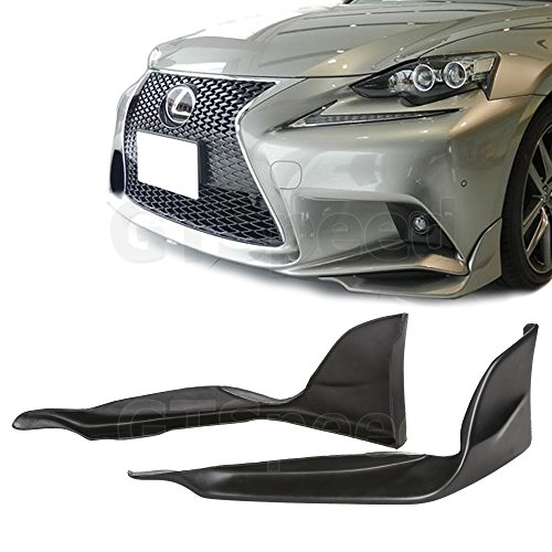 (GT-Speed Made for 2014-2016 Lexus IS250 IS350 F-Sport Sedan 4DR Only TRD Style Front PU Bumper Add-on Lip Splitters (Not Compatible With Base, IS-F or IS-C)