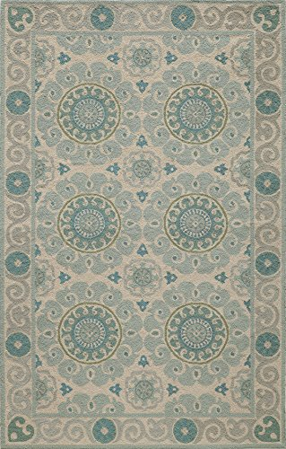 Momeni Rugs Suzani Collection 100% Wool Hand Hooked Traditional Area Rug, 8