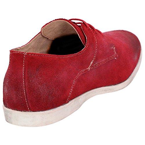 Roberto Ravenelli Herren Leder Schuhe, sportiv und lässig, Derby Schnürschuhe Rot Rot