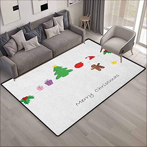Non-Slip Rug,Kids Christmas Border with Cute Hanging Icons in Drawing Style Celebration of Noel Yuletide,Children Crawling Bedroom Rug,4'7
