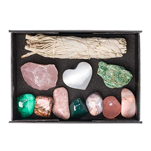Healing Rose - Premium Quality Crystals for Love and Relationships / 11 pc Crystal Healing Set - Rose Quartz, Pink Aventurine, Malachite, Pink Agate, Fuchsite, Pink Opal, Rhodonite & More + Info Guide/Gift Ready