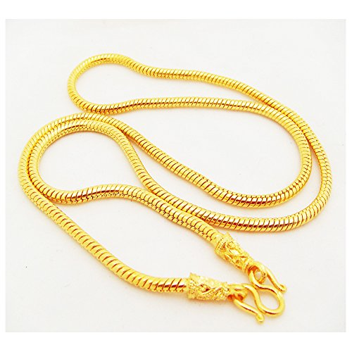 Chain 22K 23K 24K THAI BAHT GOLD GP NECKLACE 24 inch 60 Grams 4 MM (22k Gold Jewelry)