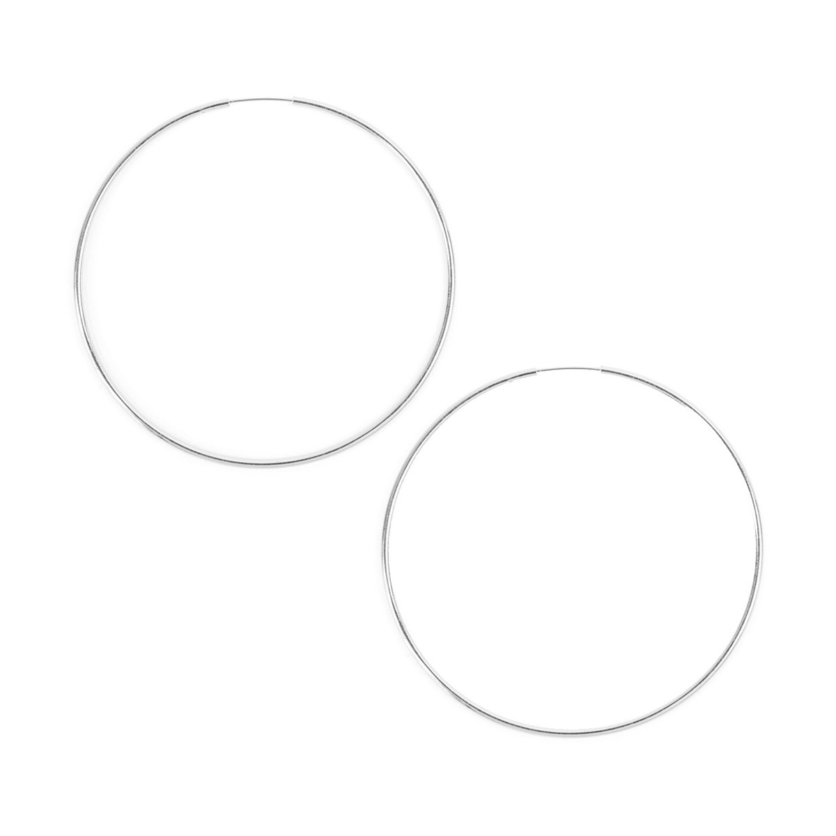 RIAH FASHION Lightweight Endless Hoop Earrings - Round Circle Seamless Thin Hoops (Round Hoop 1 - Silver - Medium)