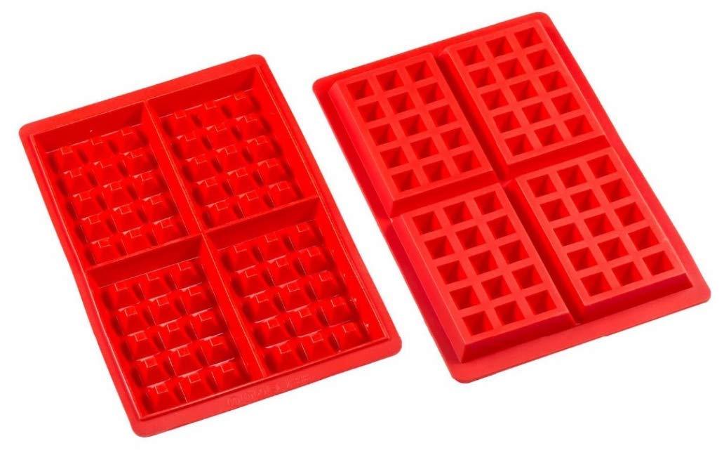 JKLcom Waffle Mold Silicone Waffle Mold 4 Cavities Waffle Mold Silicone Waffle Maker Baking Tray Mold for Waffle Cake Chocolate Craft Candy Soap Baking,2 Pack,Square