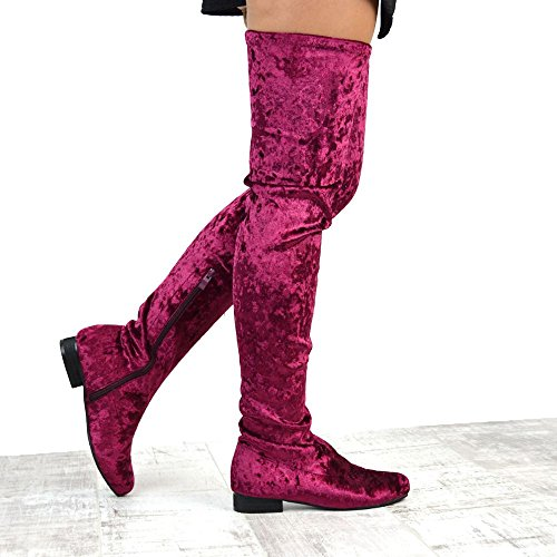 Velvet Ladies Size Stretch Thigh Flat High GLAM Velvet Knee Burgundy High Tall ESSEX The Womens Boots Over qXAW1